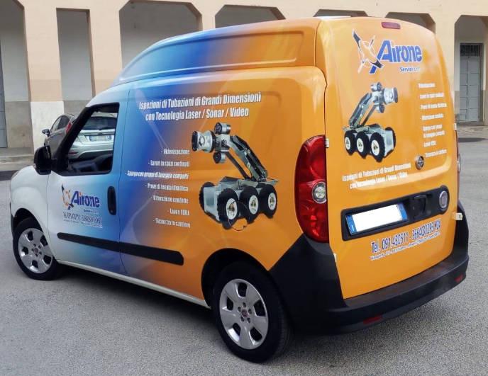 Foto della brandizzazione del veicolo Airone Servizi tramite car wrapping a Palermo