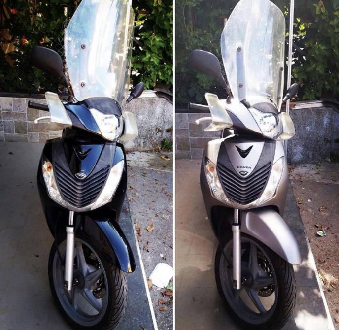 wrapping motociclo silver spazzolato