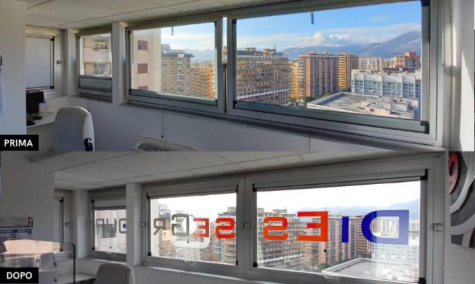pellicola controllo solare vista dall'interno, con prima e dopo